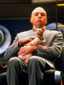 Dr. Evil and Mr. Bigglesworth from the Austin Powers movie franchise